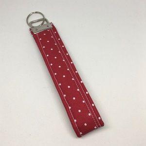 Key Fob Wristlet Keychain In Red Poka Dot Print